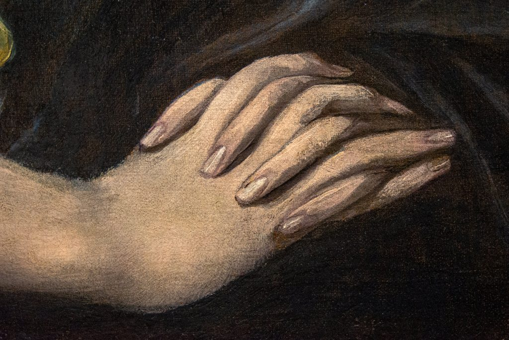 """Detail of hands in """"The Penitent Magdalene"""" by El Greco"""