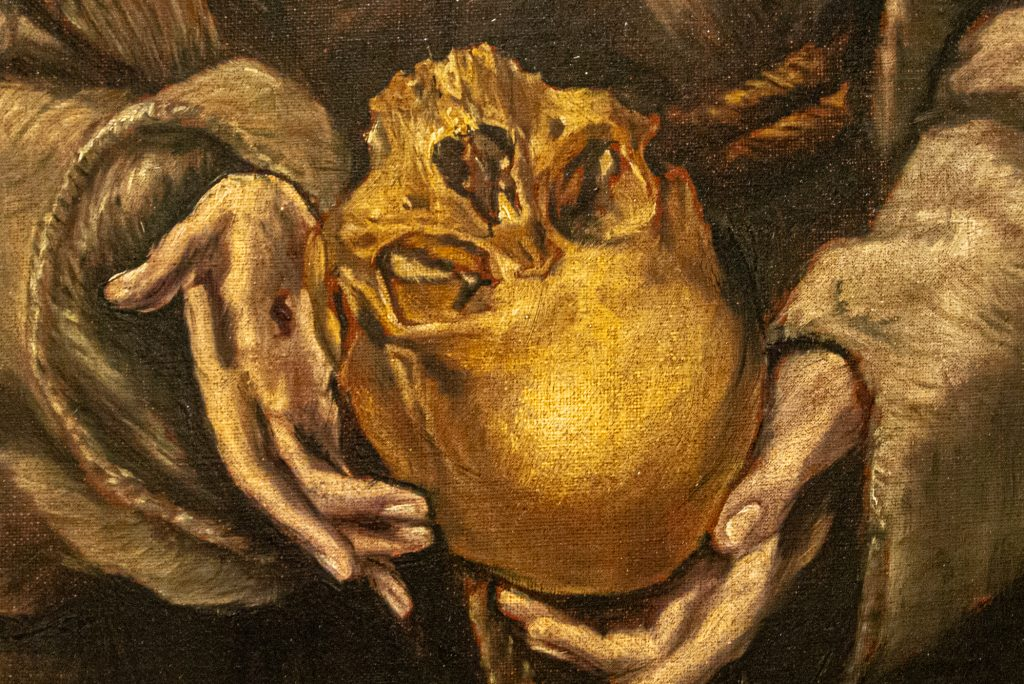 """Detail of skull """"Saint Francis and Brother Leo Meditating on Death"""" by El Greco"""