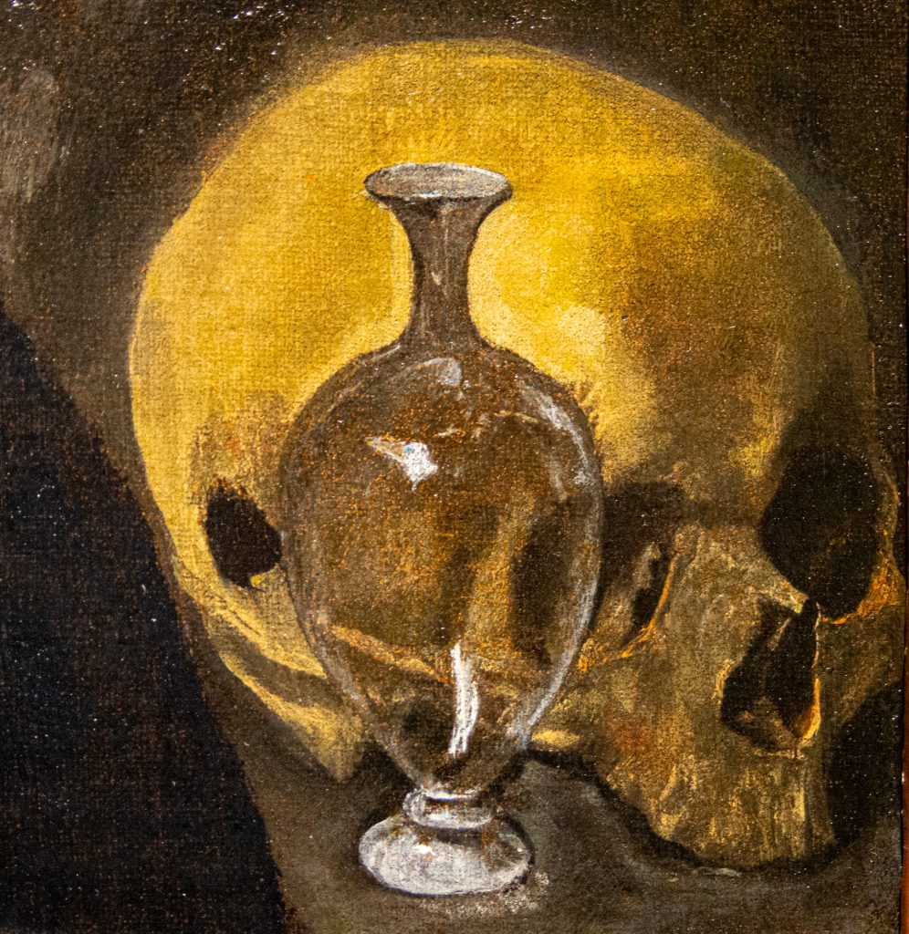 """Detail of skull and vase of oil in """"The Penitent Magdalene"""" by El Greco"""