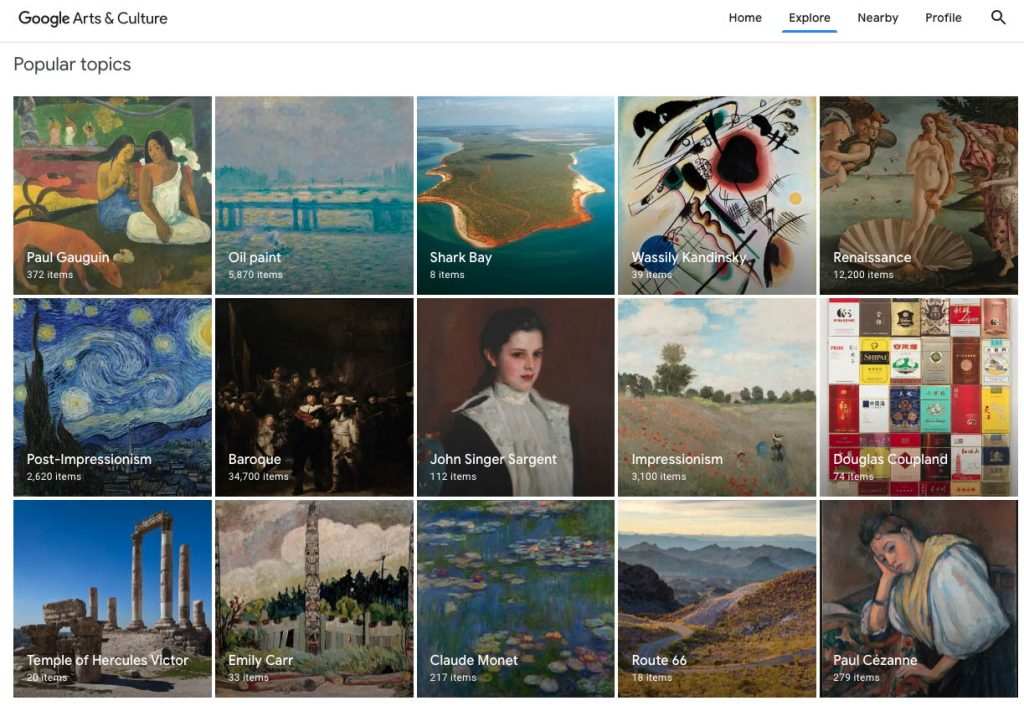 Popular topics in Google Arts and Culture