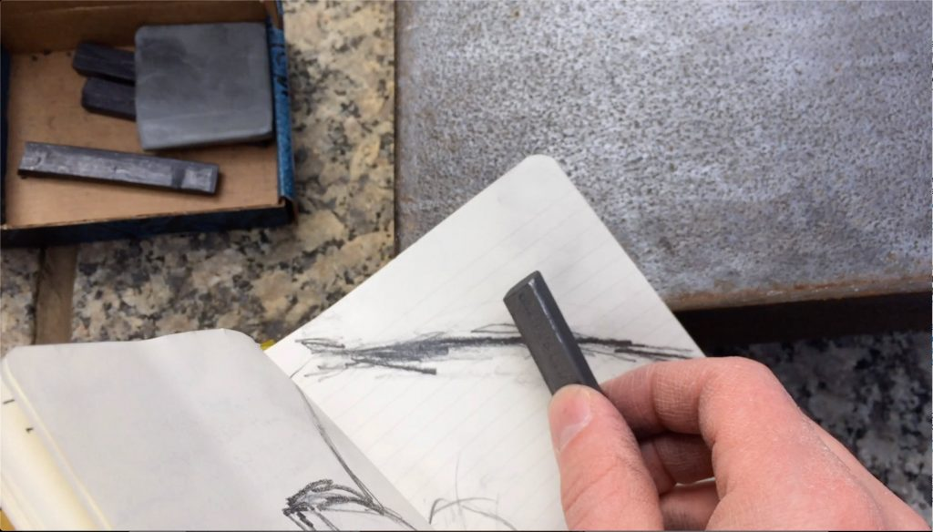 Pencil rubbing on the edge of the Picasso sculpture