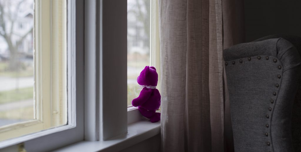 purple teddy bear sitting in window for #TeddyBearHunt