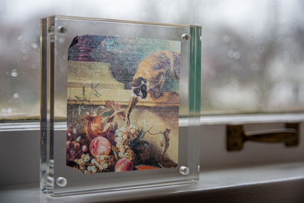 Toilet paper art print inside acrylic frame, displayed on window sill