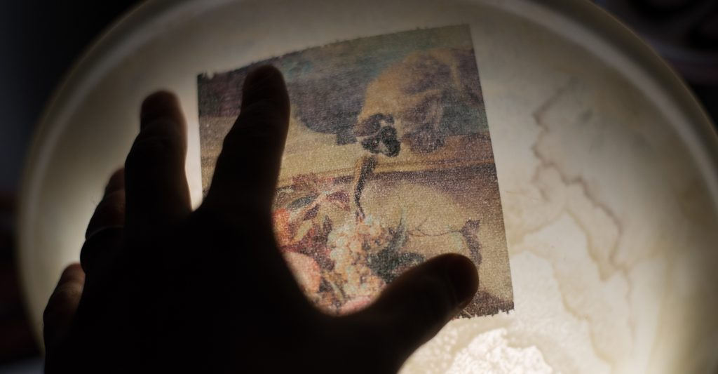 Viewing inkjet print on toilet paper with back lighting