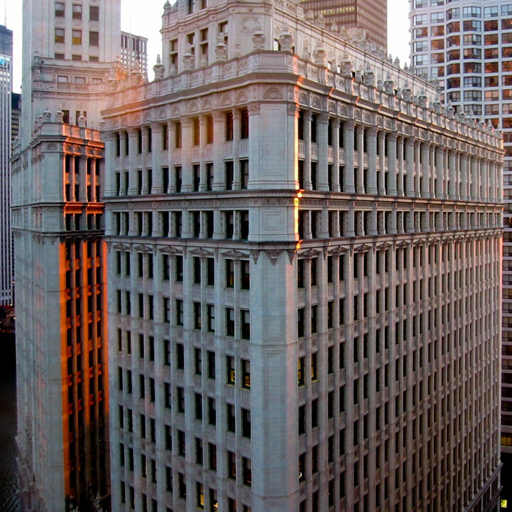 Wrigley Building in sunset