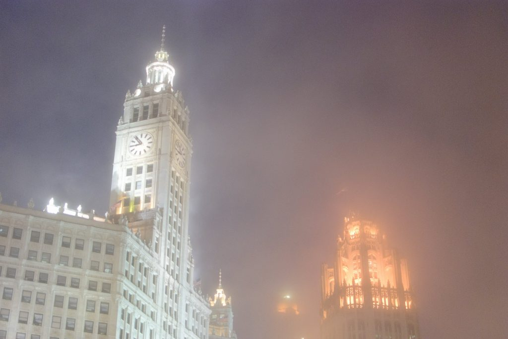 Photo of Wrigley Building and Tribune Tower in the fog, captured on May 20, 2011 by Matt Maldre