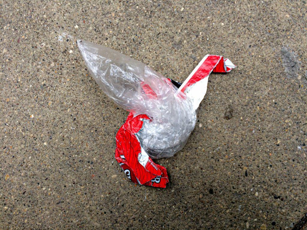 trash that looks like origami crane