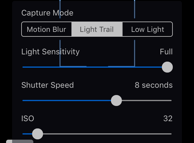 Slow Shutter iOS app settings for capturing snow