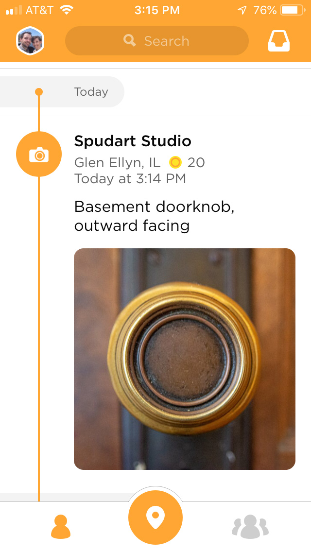 swarm app check into your house with a photograph of a doorknob