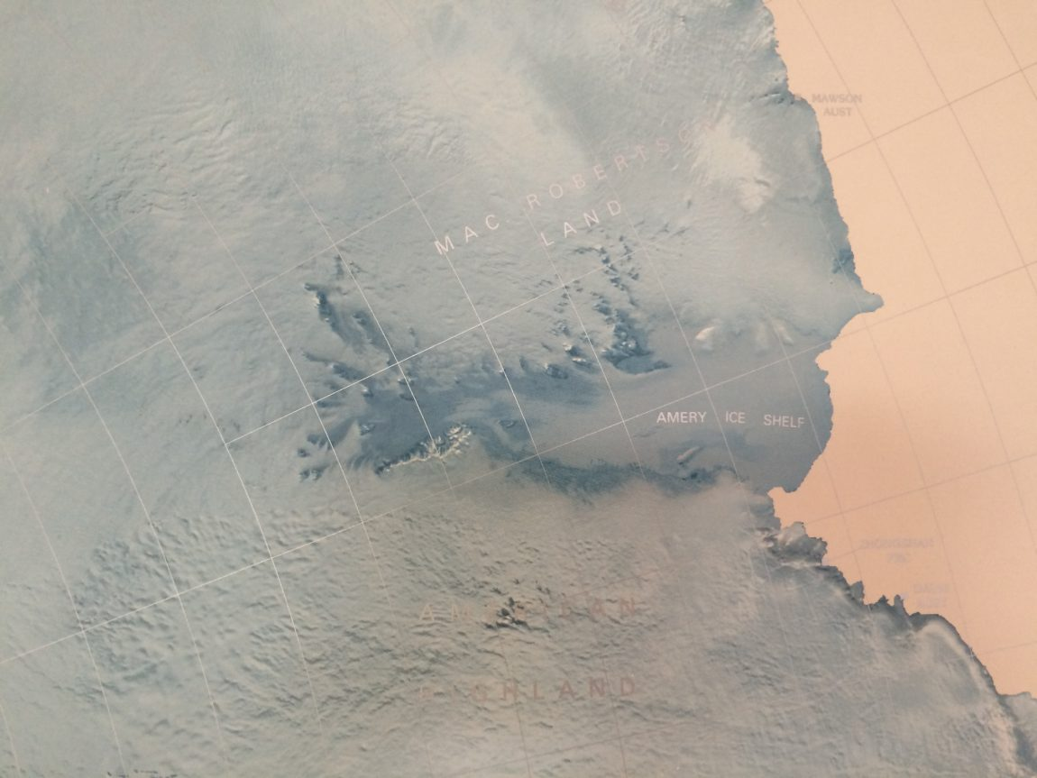 Amery Ice Shelf (detail from Antarctica map poster)