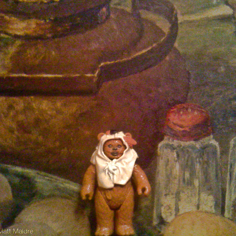 Ewok in still life painting