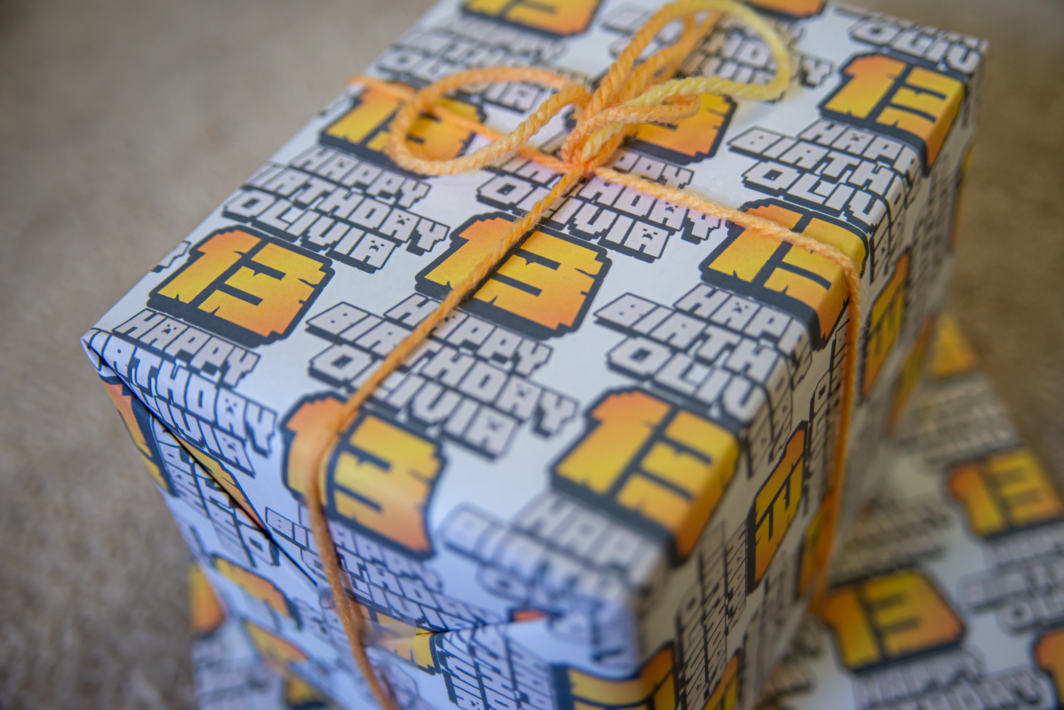 Minecraft-style custom wrapping paper