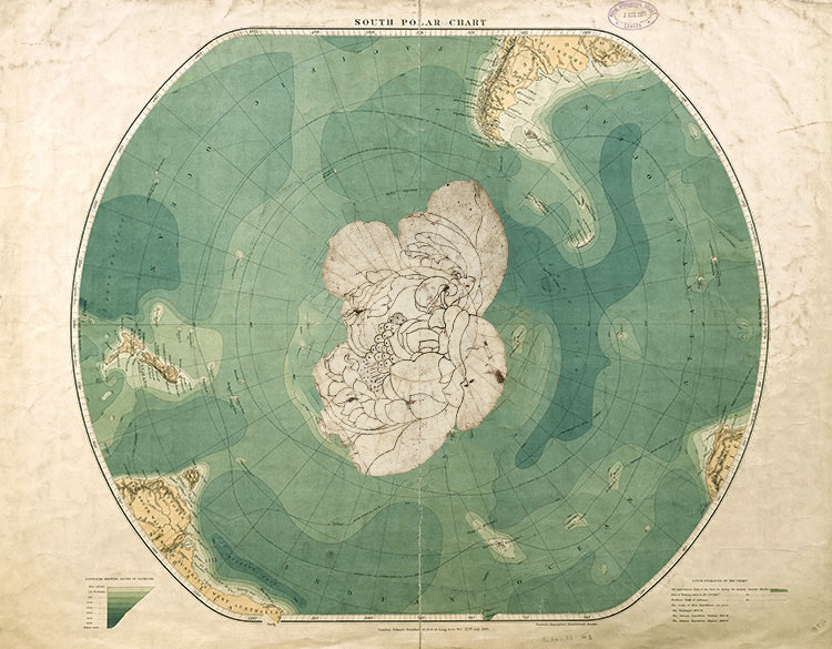 Lotus flower photoshopped onto Antarctica map