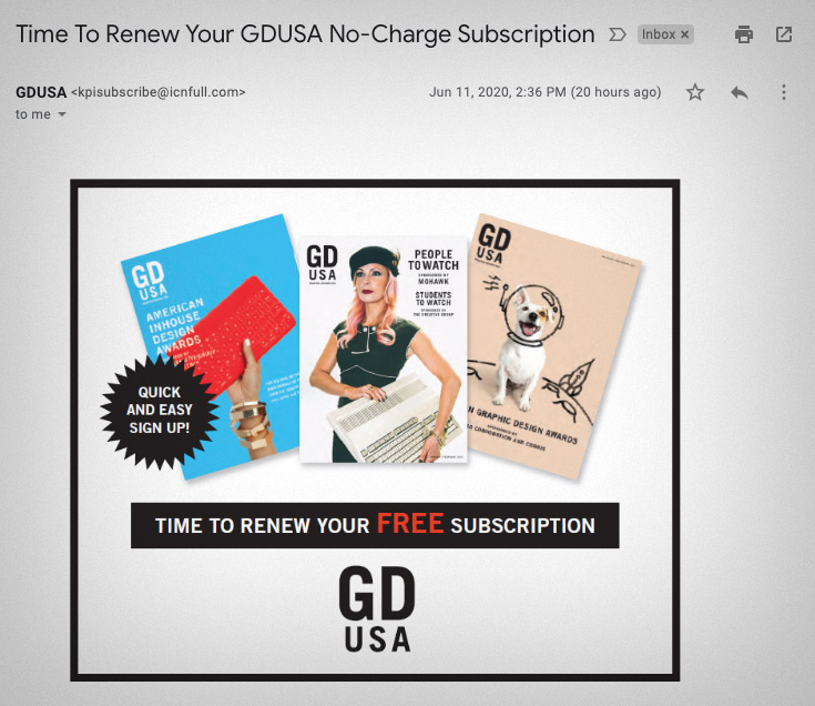 Screenshot of email: time to renew your free subscription to GD USA