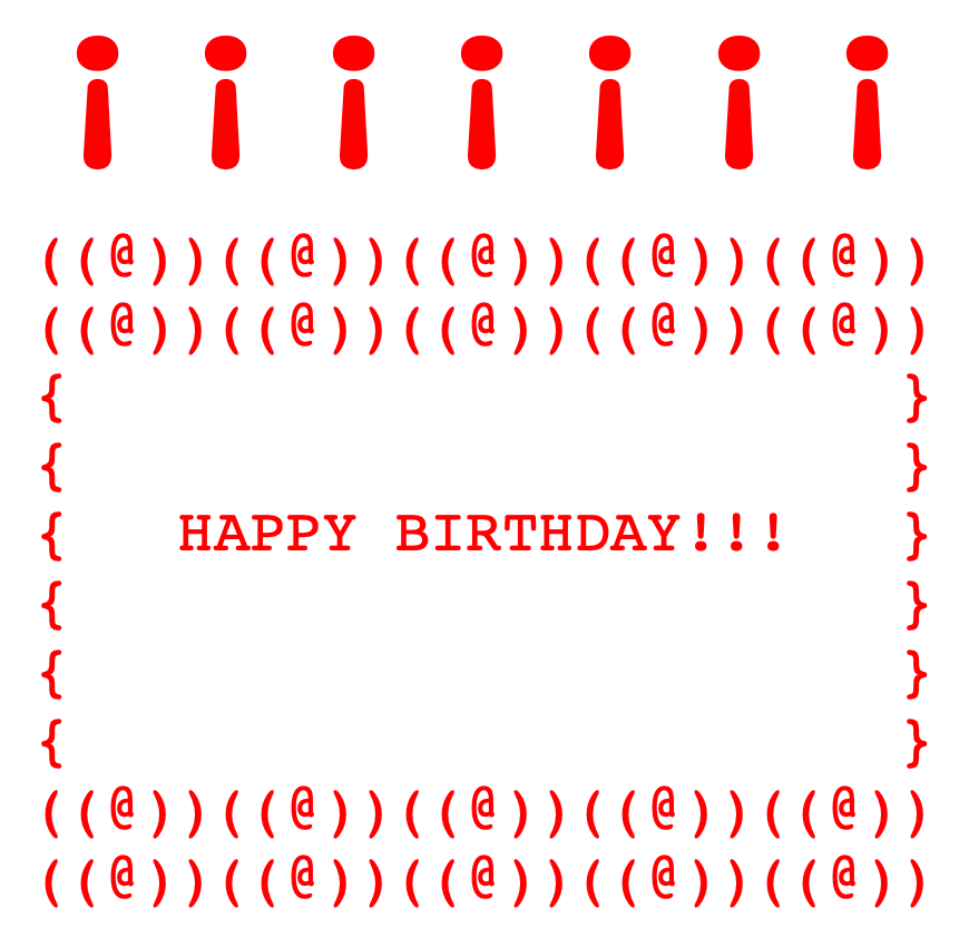 Inverted exclamation points used in ascii art birthday cake