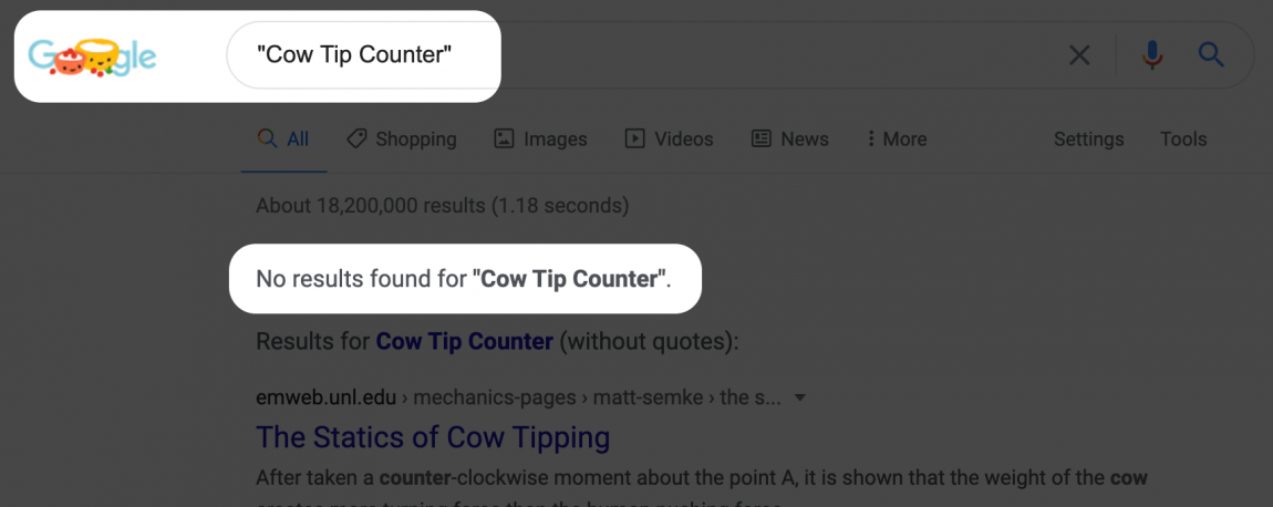 "Screenshot of Google search results for: ""Cow Tip Counter"""