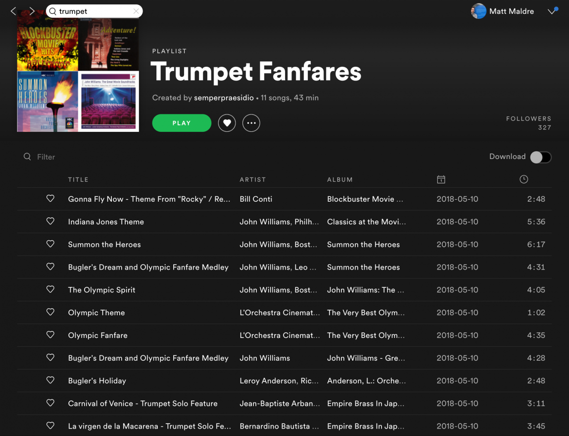 Trumpet Fanfare playlist by semperpraesidio on Spotify