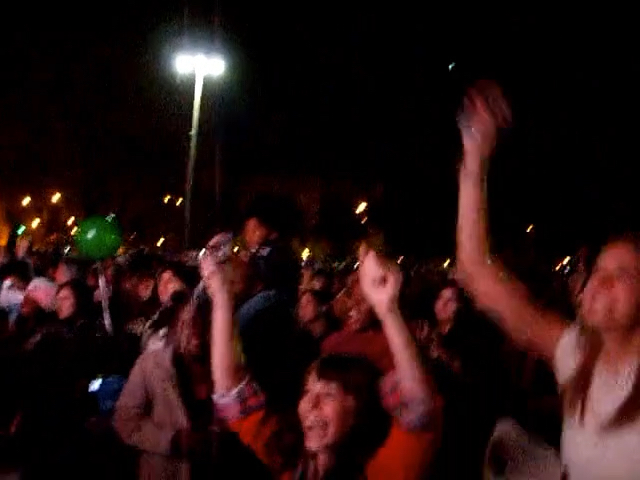 Screengrab of video people celebrating the moment of victory for Barack Obama on 2008 election night