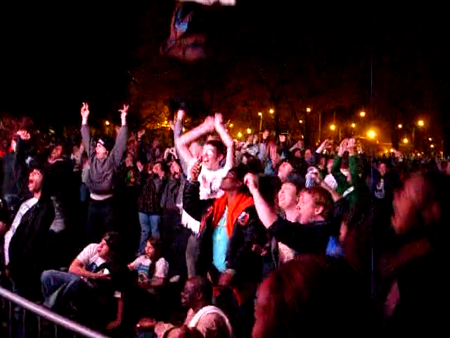 Video screengrab of people celebrating for Barack Obama's victory on Presidential election night 2008