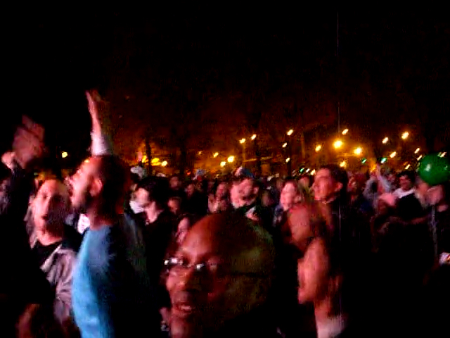 Video screengrab of people celebrating the moment of victory for Barack Obama on 2008 election night