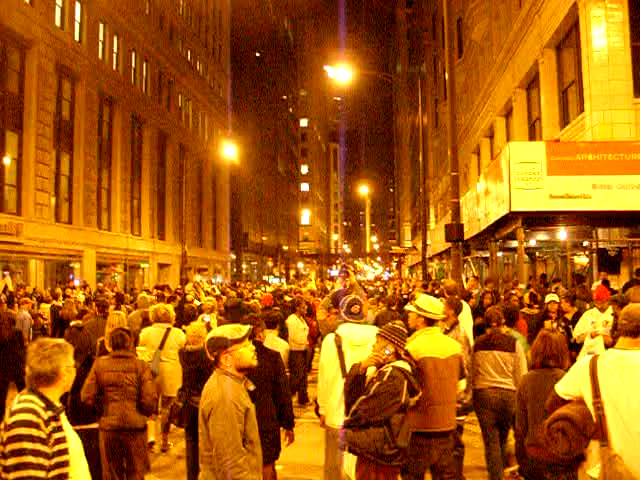 Video screengrab of the happy crowd going home at Barack Obama's victory on election night 2008
