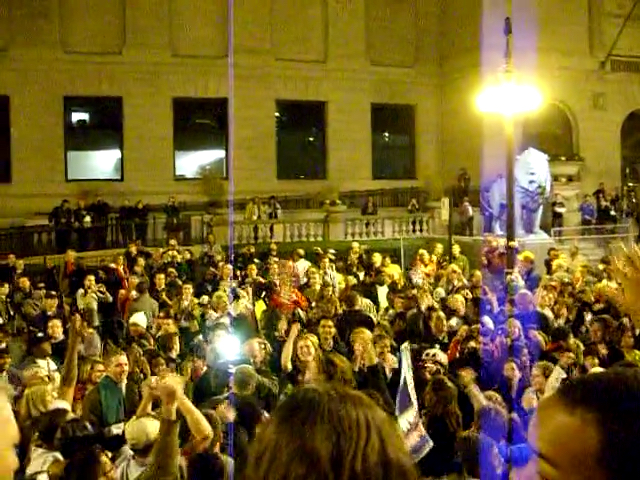 "Video screengrab of chanting ""yes we did! yes we did"" at Barack Obama's victory on election night 2008"