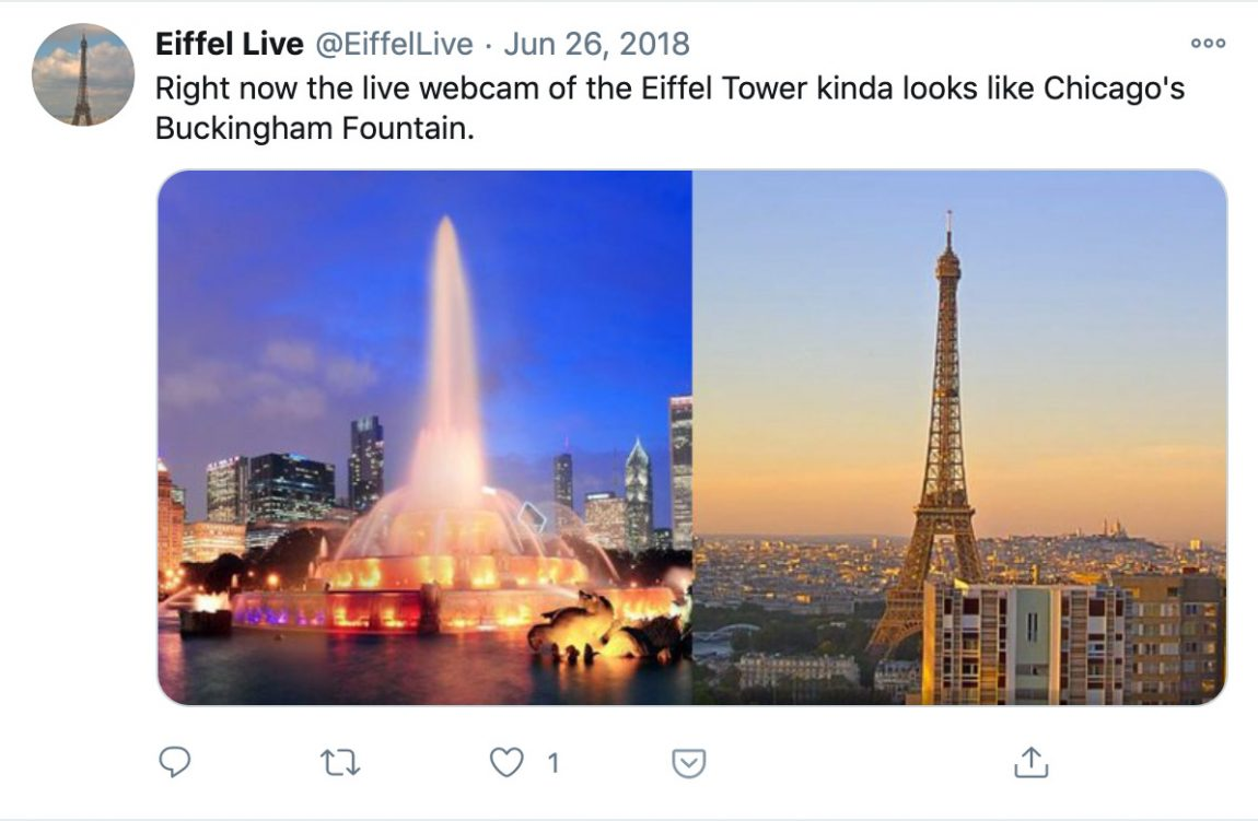 Right now the live webcam of the Eiffel Tower kinda looks like Chicago's Buckingham Fountain.