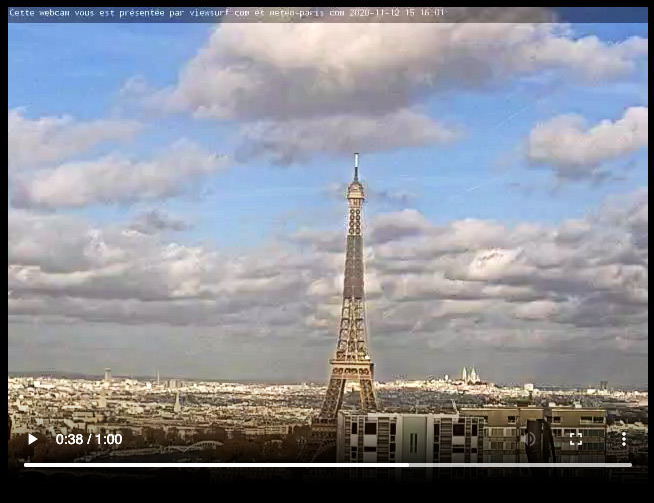 Screenshot of Eiffel Tower one-minute time lapse built from past 24 hours