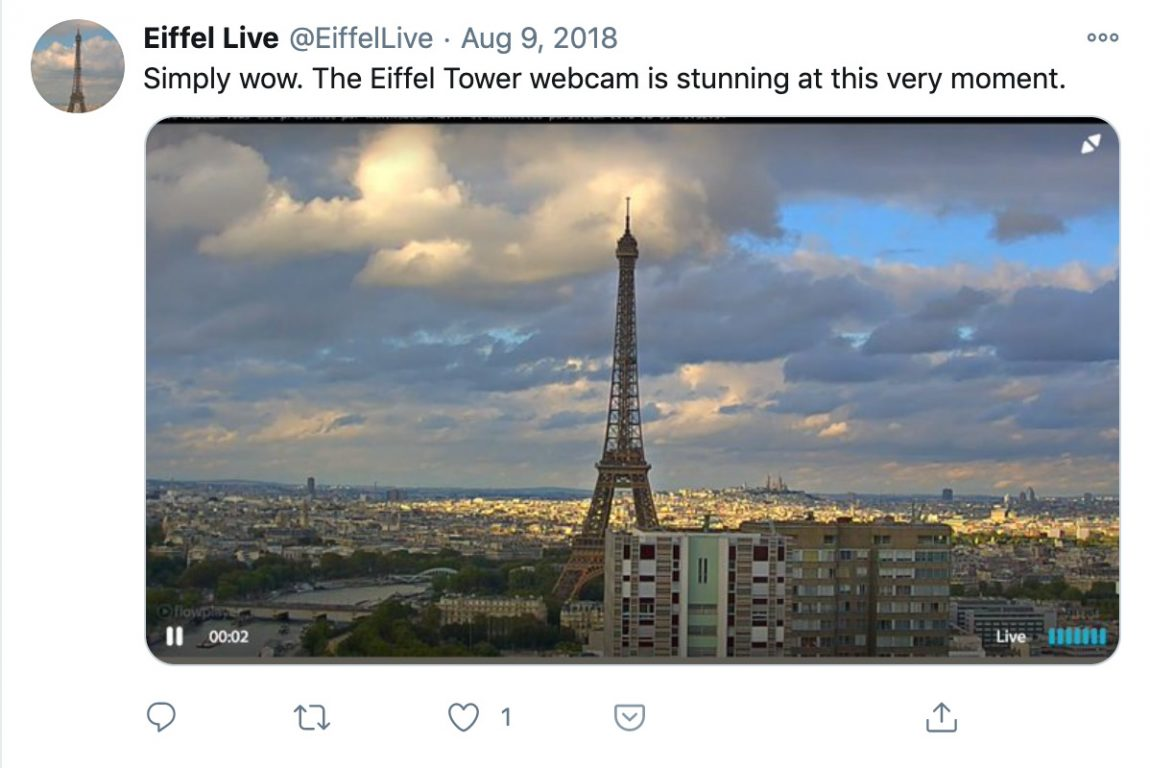 Simply wow. The Eiffel Tower webcam is stunning at this very moment.