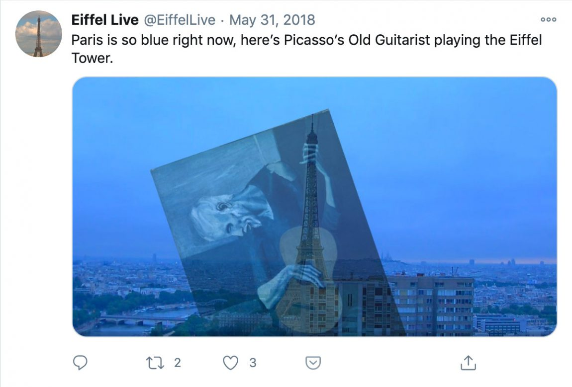 Paris is so blue right now, here's Picasso's Old Guitarist playing the Eiffel Tower.