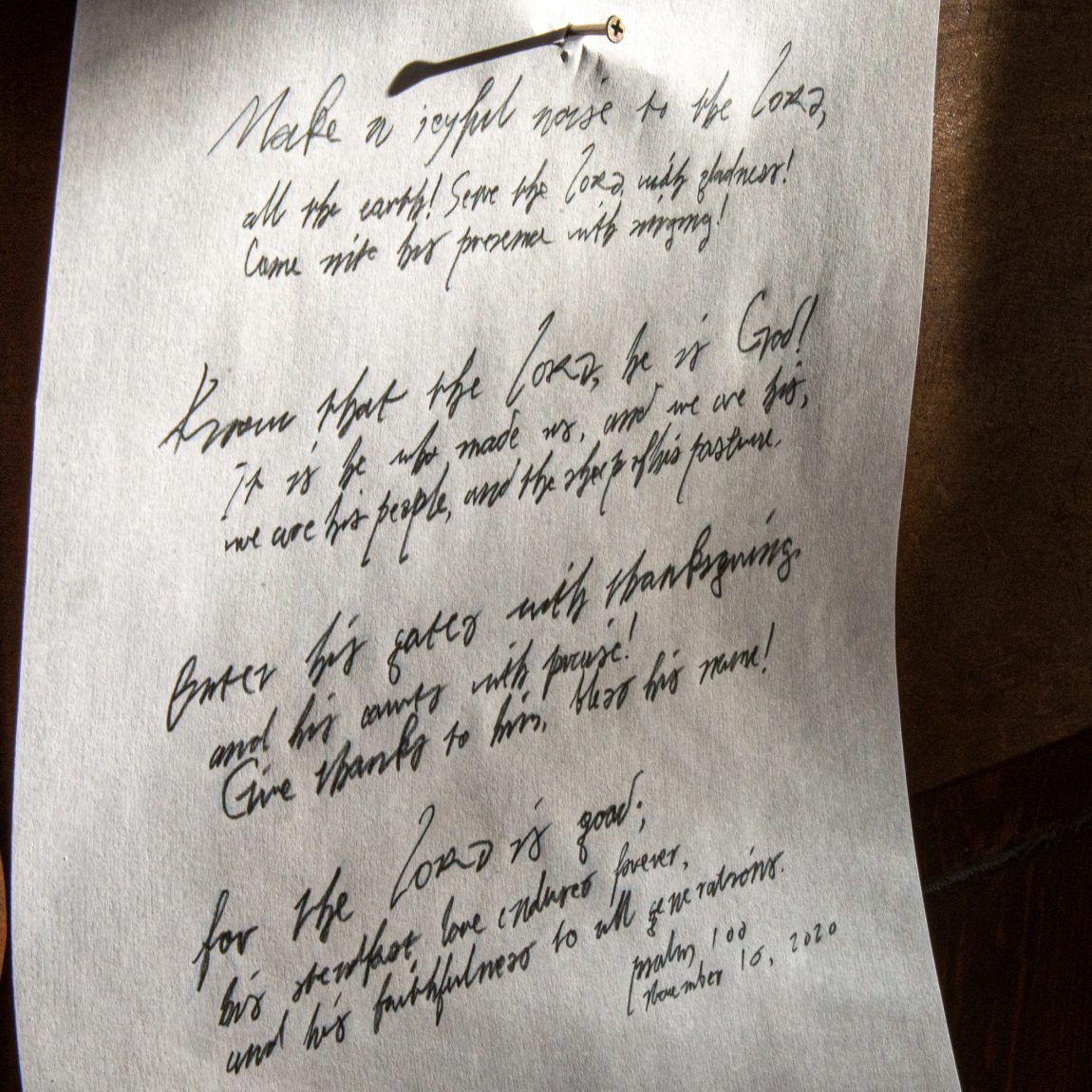 Psalm 100 written in Martin Luther's handwriting- nailed to a door