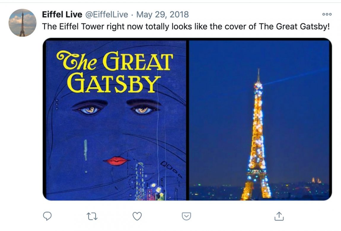 The Eiffel Tower right now totally looks like the cover of The Great Gatsby!