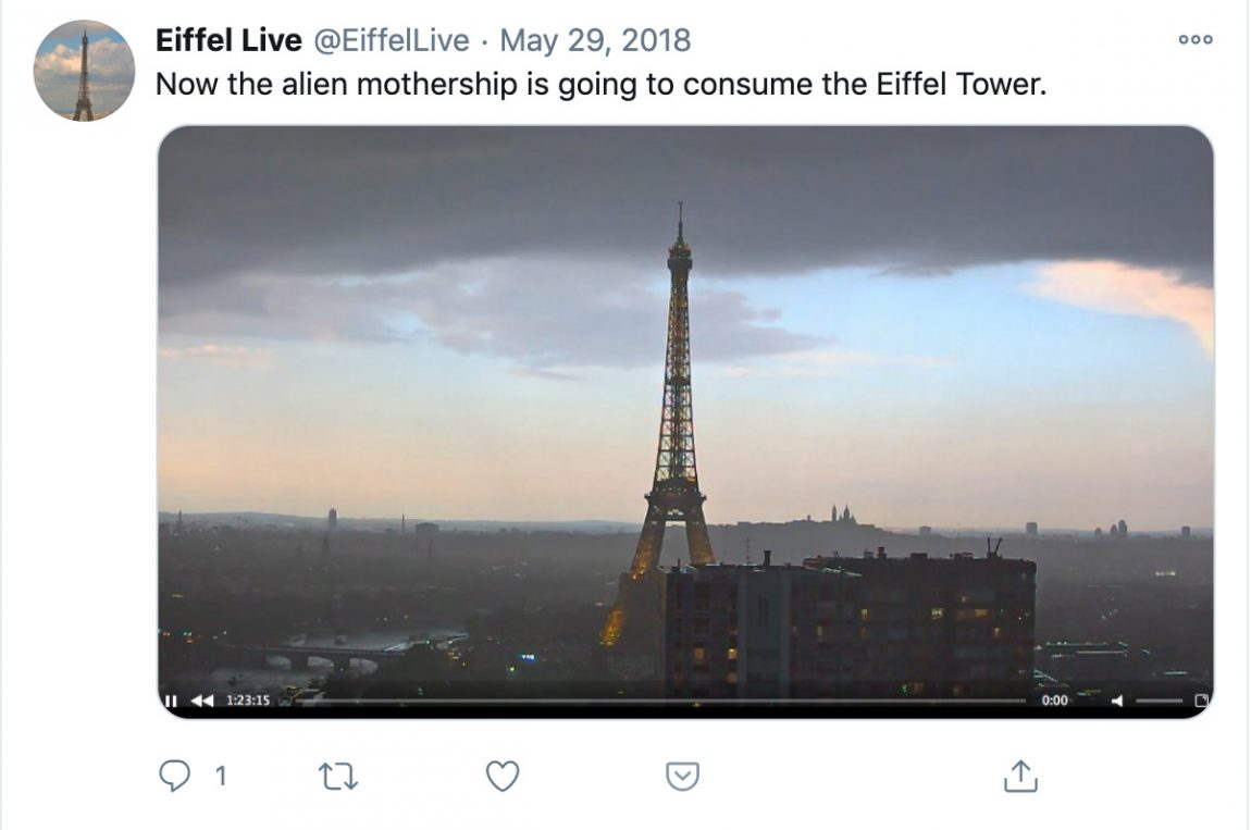 Now the alien mothership is going to consume the Eiffel Tower.