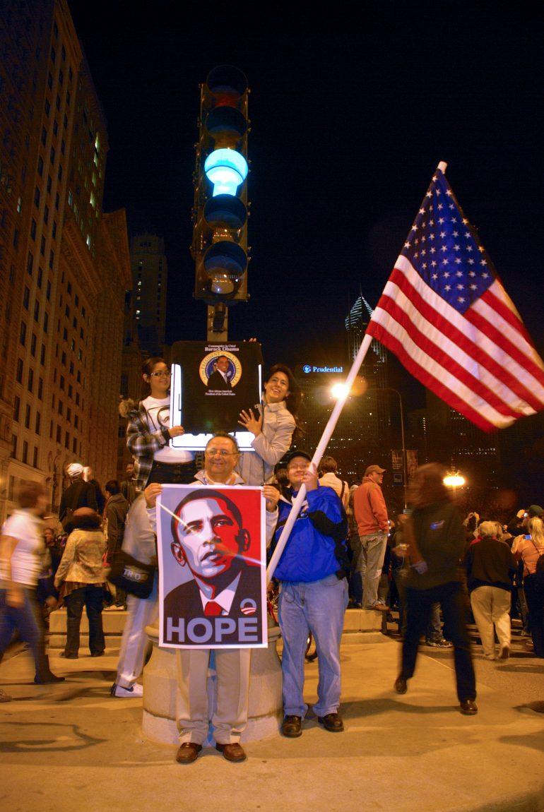 Barack Obama winning celebration in Chicago's Grant Park: 14