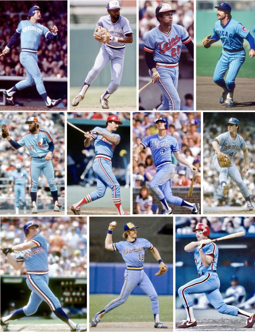 80s powder blue baseball uniforms