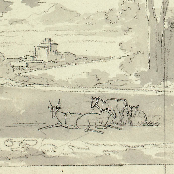 """Detail of """"Fantasy Landscape with Ruins and Figures"""" by Pierre Antoine Mongin"""