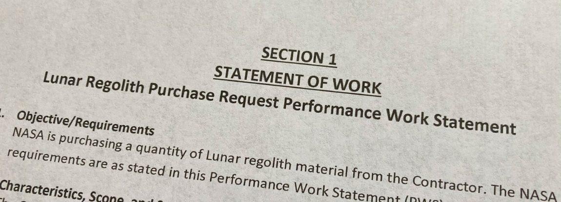 Lunar Regolith Purchase Request Performance Work Statement