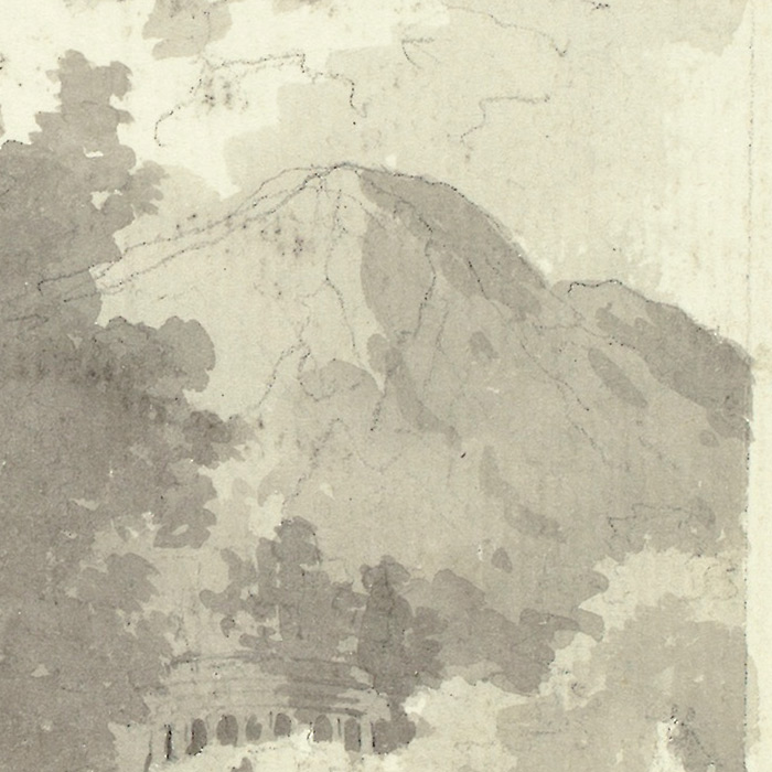 """Detail of """"Classical Urn in Front of a Shed, with Temple and Mountain in Background"""" by Pierre Antoine Mongin"""