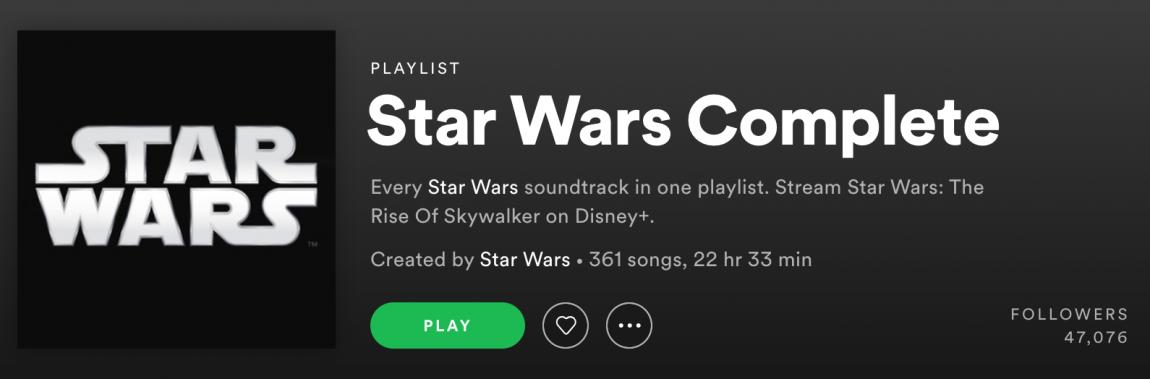 Screenshot of Star Wars Complete playlist on Spotify