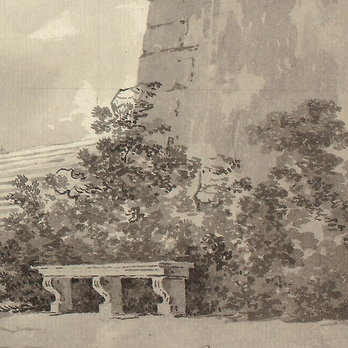 """Detail of """"View of the Park at Versailles: Staircase, Urns and Topiaries"""" by Pierre Antoine Mongin"""