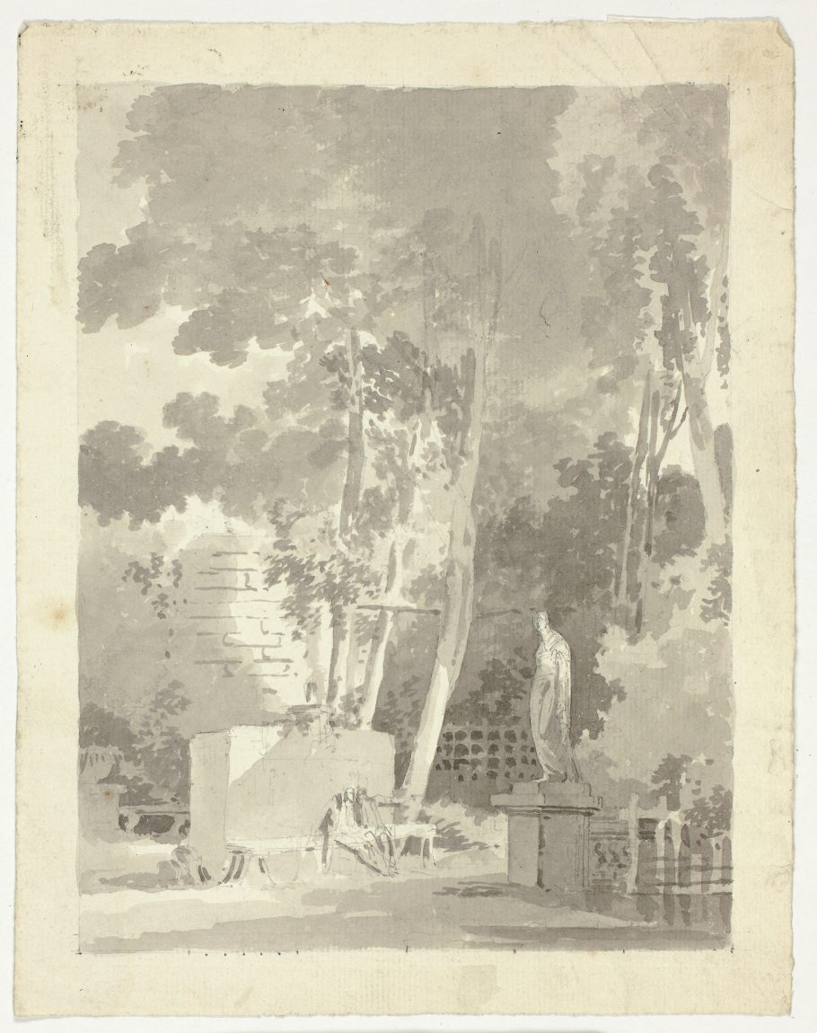 """""""View of the Park at Versailles: Two Figures on a Bench in a Clearing, Female Statue Nearby"""" by Pierre Antoine Mongin"""