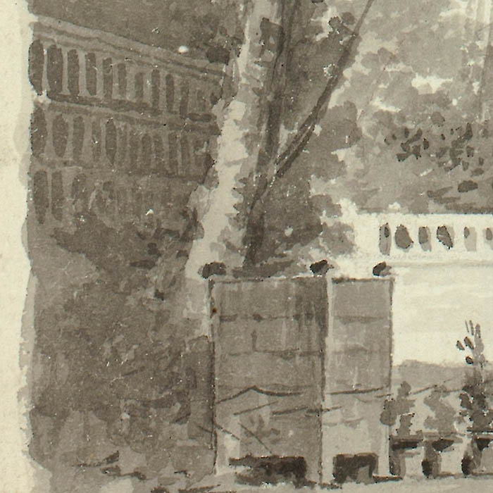 """Detail of """"View of the Park at Versailles: Two Poplar Trees with Balustraded Walk in Background"""" by Pierre Antoine Mongin"""