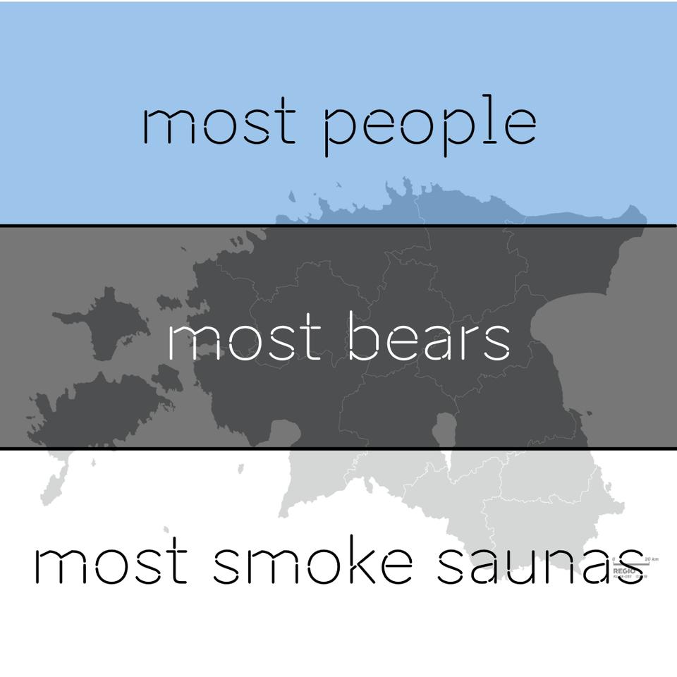 Estonia map: most people, most bears, most smoke saunas