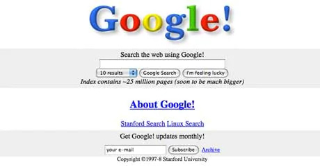 Google logo embossed with drop shadow at launch in 1998