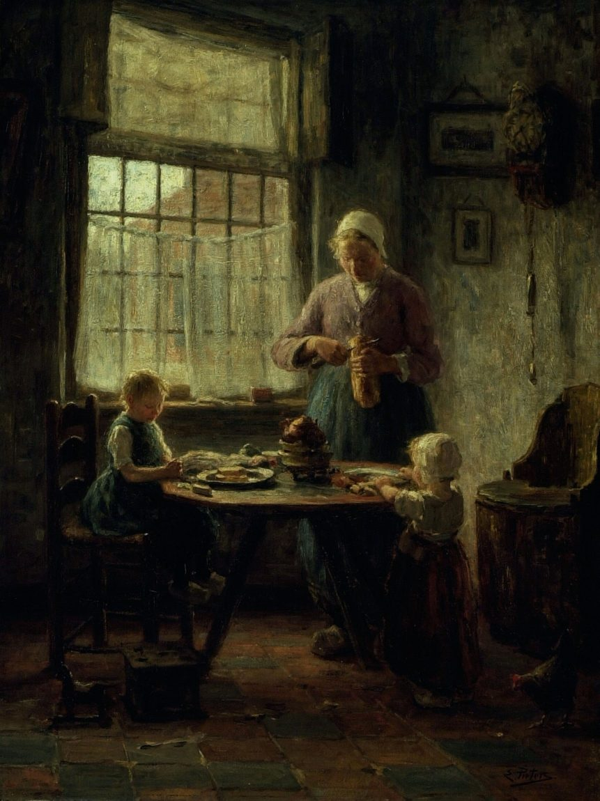 """Dutch artist Evert Pieters' """"A Family Meal"""" from the 1890s."""
