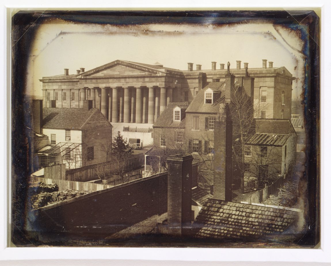 United States Patent Office, Washington, D.C., showing F Street facade, possibly taken from the upper floor of the General Post Office