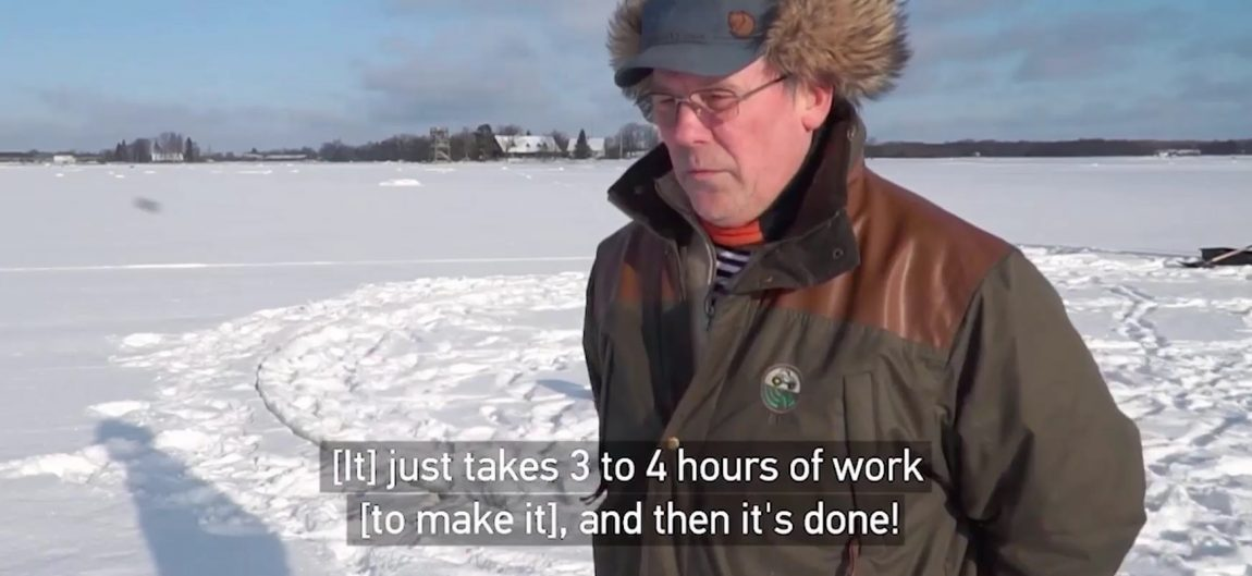 """Frame from video: Laanemaa Ants Ale saying """"[It] just takes 3 to 4 hours of work [to make it], then it's done!"""""""