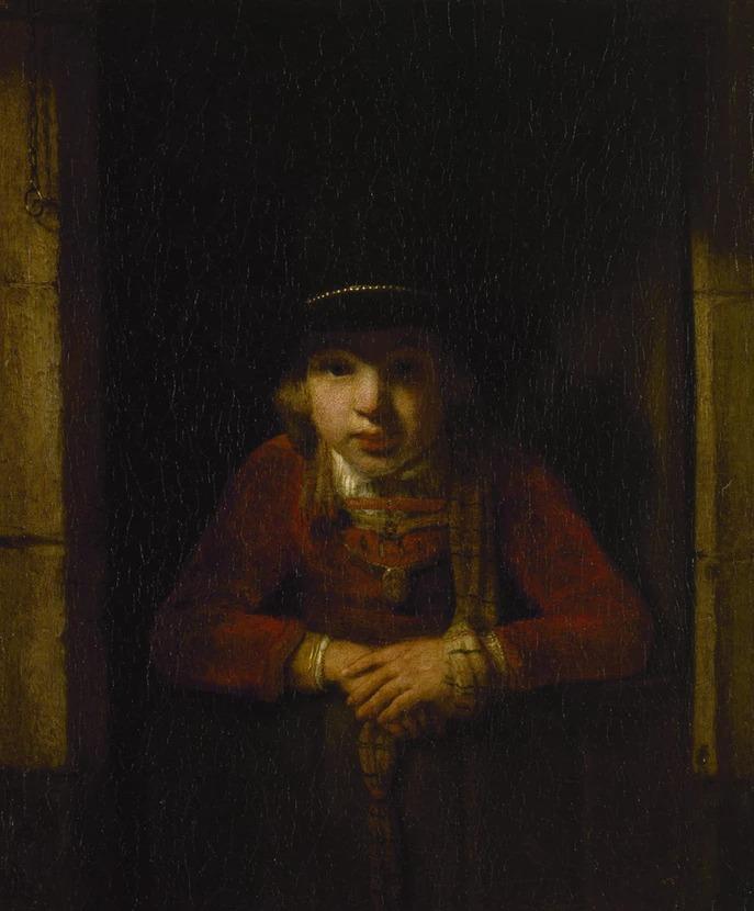 """Samuel Dircksz Hoogstraten: """"Boy Looking through the Window"""""""