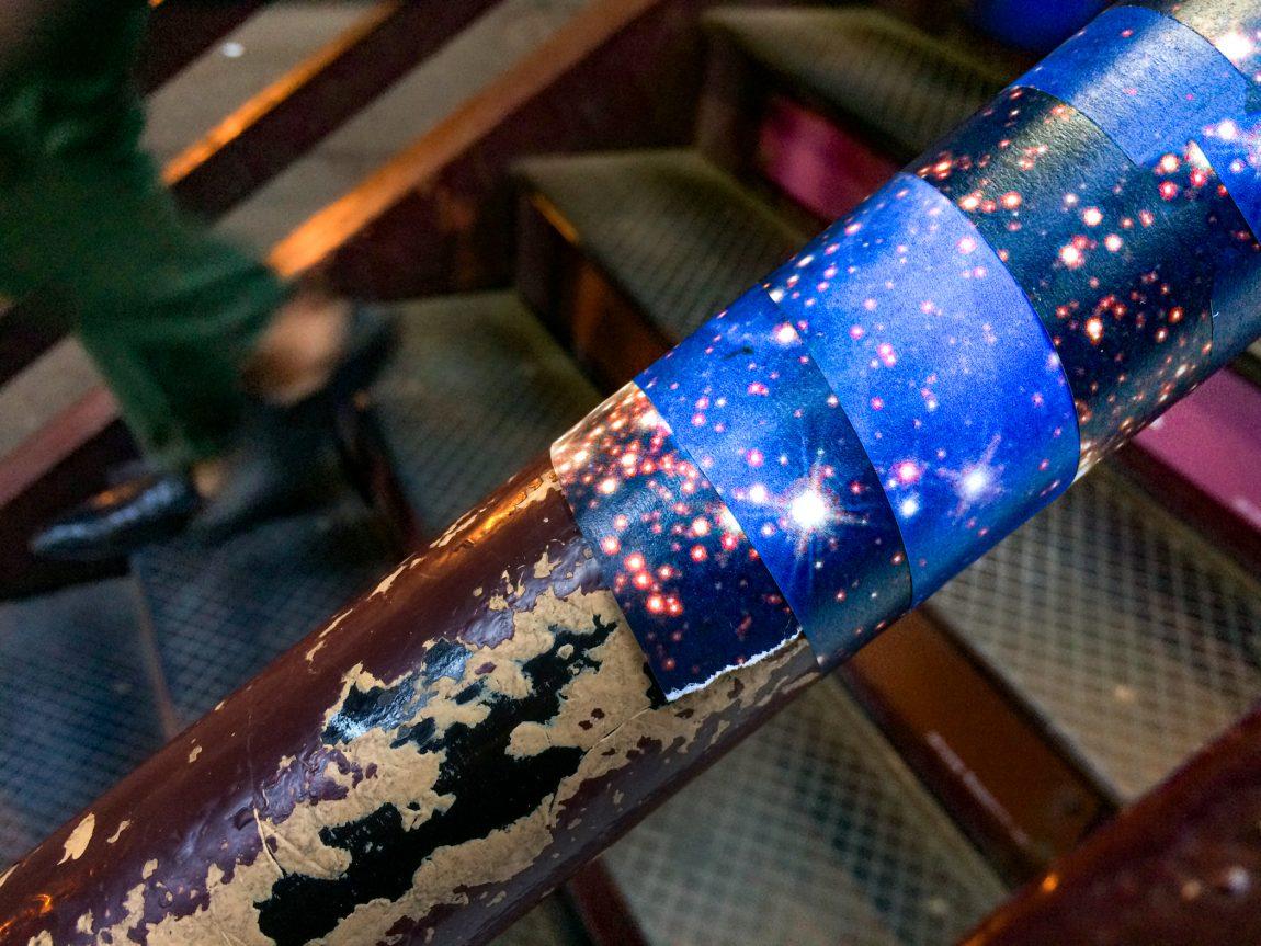 Carina Constellation wrapped around hand rail at #CTA Randolph/Wabash train station #starwraps
