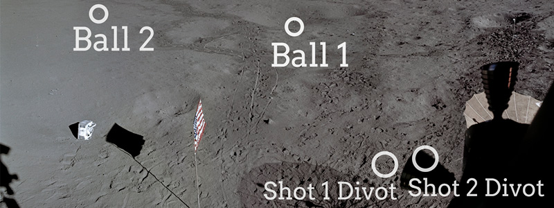 Photo of Moon surface with golf balls marked